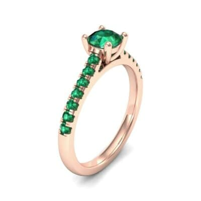 Petite Cathedral Pave Emerald Engagement Ring (0.69 Carat)