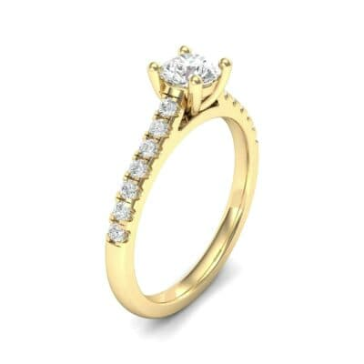 Petite Cathedral Pave Diamond Engagement Ring (0.69 Carat)