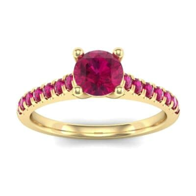 Petite Cathedral Pave Ruby Engagement Ring (0.69 Carat)