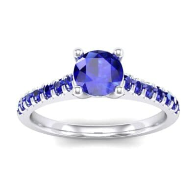 Petite Cathedral Pave Blue Sapphire Engagement Ring (0.69 Carat)
