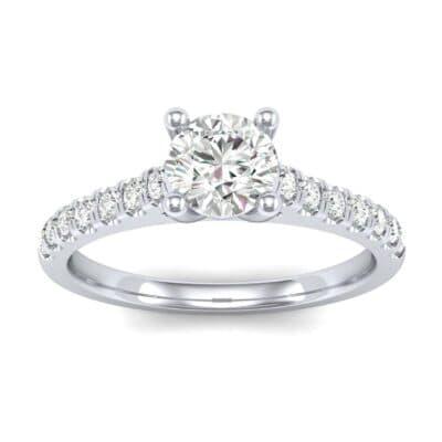 Petite Cathedral Pave Diamond Engagement Ring (0.69 Carat)