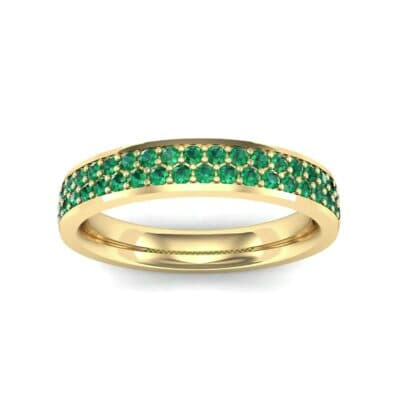 Flat Two-Row Pave Emerald Ring (0.84 Carat)