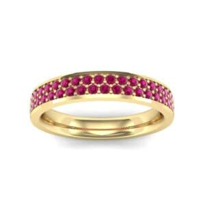 Flat Two-Row Pave Ruby Ring (0.84 Carat)