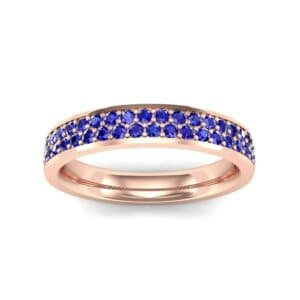 Flat Two-Row Pave Blue Sapphire Ring (0.84 Carat)