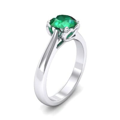 Heart Accent Cathedral Solitaire Emerald Engagement Ring (0.46 Carat)