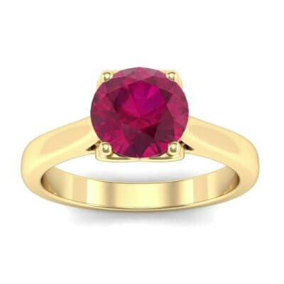 Heart Accent Cathedral Solitaire Ruby Engagement Ring (0.46 Carat)