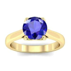 Heart Accent Cathedral Solitaire Blue Sapphire Engagement Ring (0.46 Carat)