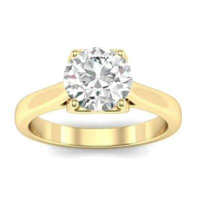 Heart Accent Cathedral Solitaire Diamond Engagement Ring (0.46 Carat)