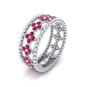 Clover Ruby Bead Ring (0.79 Carat)