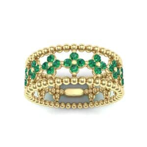 Clover Emerald Bead Ring (0.79 Carat)