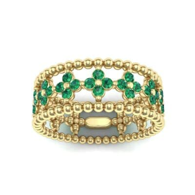 Clover Emerald Bead Ring (0.79 Carat)