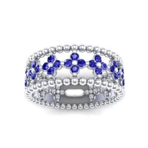 Clover Blue Sapphire Bead Ring (0.79 Carat)