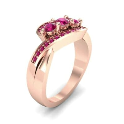 Three-Stone Pave Ruby Bypass Engagement Ring (1.31 Carat)