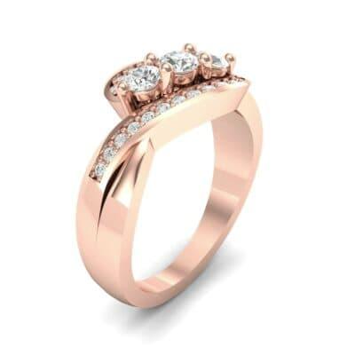 Three-Stone Pave Diamond Bypass Engagement Ring (0.76 Carat)