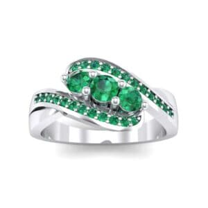 Three-Stone Pave Emerald Bypass Engagement Ring (1.31 Carat)