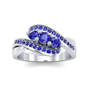 Three-Stone Pave Blue Sapphire Bypass Engagement Ring (1.31 Carat)