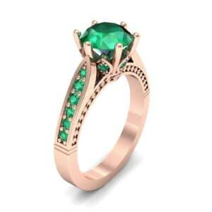 Coronet Engraved Emerald Engagement Ring (0.74 Carat)