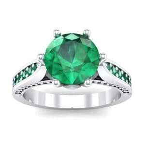 Coronet Engraved Emerald Engagement Ring (0.74 Carat)