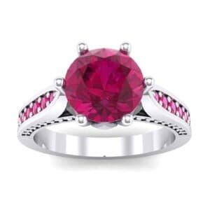 Coronet Engraved Ruby Engagement Ring (0.74 Carat)