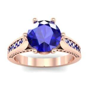 Coronet Engraved Blue Sapphire Engagement Ring (0.74 Carat)