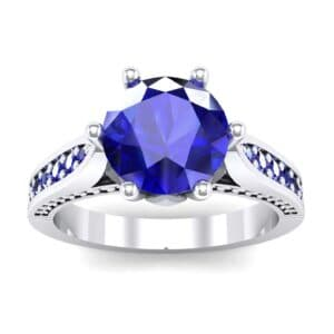 Coronet Engraved Blue Sapphire Engagement Ring (0.74 Carat)