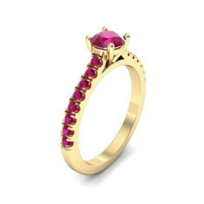 Petite Cathedral Pave Ruby Engagement Ring (0.74 Carat)