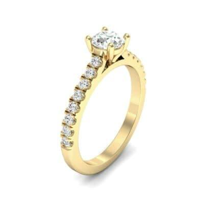 Petite Cathedral Pave Diamond Engagement Ring (0.74 Carat)