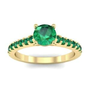 Petite Cathedral Pave Emerald Engagement Ring (0.74 Carat)