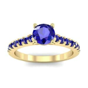 Petite Cathedral Pave Blue Sapphire Engagement Ring (0.74 Carat)