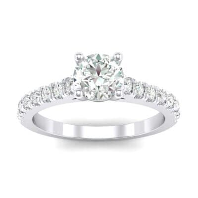 Petite Cathedral Pave Diamond Engagement Ring (0.74 Carat)