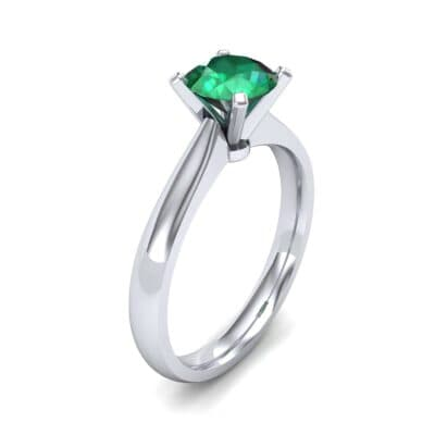 Tapered Cathedral Solitaire Emerald Engagement Ring (0.66 Carat)