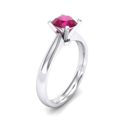 Tapered Cathedral Solitaire Ruby Engagement Ring (0.66 CTW)