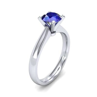 Tapered Cathedral Solitaire Blue Sapphire Engagement Ring (0.66 CTW)
