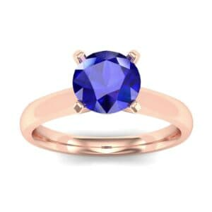 Tapered Cathedral Solitaire Blue Sapphire Engagement Ring (0.66 Carat)