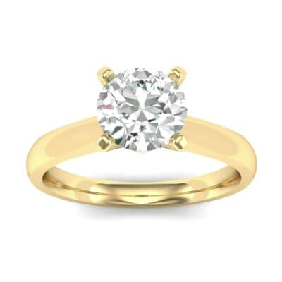 Tapered Cathedral Solitaire Diamond Engagement Ring (0.66 Carat)