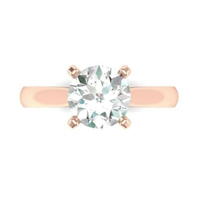 Tapered Cathedral Solitaire Diamond Engagement Ring (0.66 CTW) Top Flat View