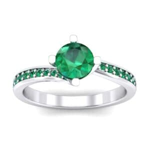 Compass Point Emerald Bypass Engagement Ring (0.7 Carat)