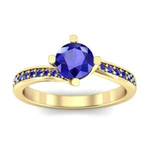 Compass Point Blue Sapphire Bypass Engagement Ring (0.7 Carat)