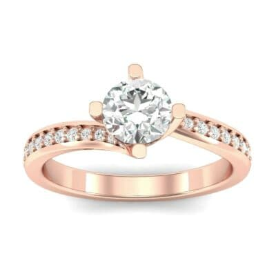 Compass Point Diamond Bypass Engagement Ring (0.7 CTW) Top Dynamic View