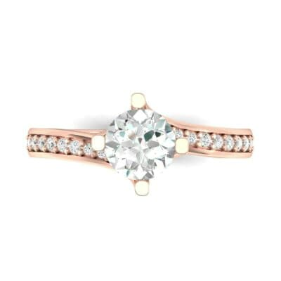 Compass Point Diamond Bypass Engagement Ring (0.7 CTW) Top Flat View
