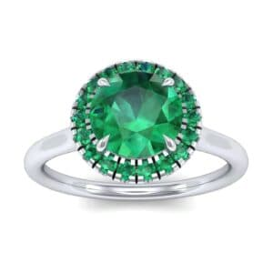 Plain Shank Round Halo Emerald Engagement Ring (0.84 Carat)