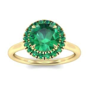 Plain Shank Round Halo Emerald Engagement Ring (0.84 Carat)