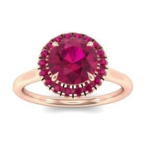 Plain Shank Round Halo Ruby Engagement Ring (0.84 Carat)