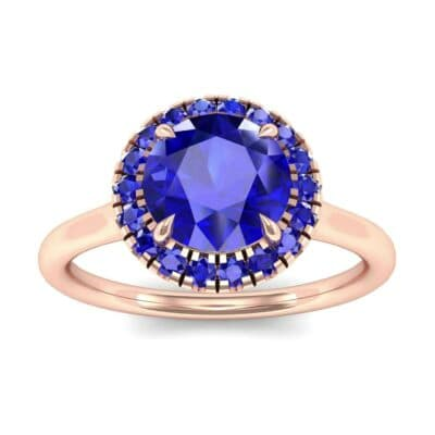 Plain Shank Round Halo Blue Sapphire Engagement Ring (0.84 Carat)