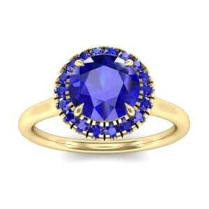 Plain Shank Round Halo Blue Sapphire Engagement Ring (0.84 Carat)