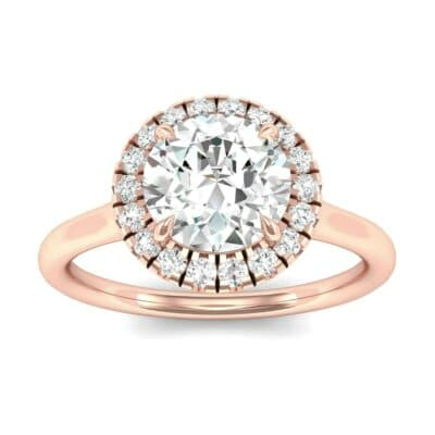 Plain Shank Round Halo Diamond Engagement Ring (0.84 Carat)