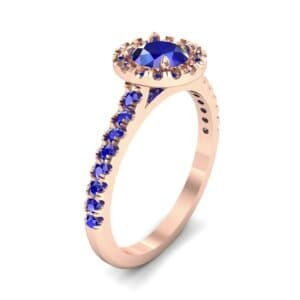 Round Halo Pave Blue Sapphire Engagement Ring (1.23 Carat)
