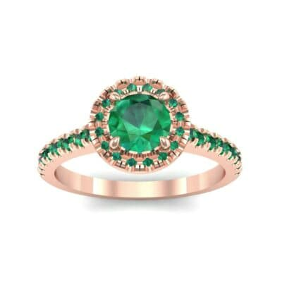 Round Halo Pave Emerald Engagement Ring (1.23 Carat)