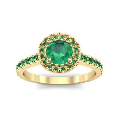 Round Halo Pave Emerald Engagement Ring (1.23 Carat)