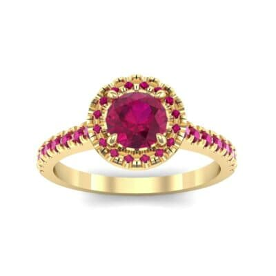Round Halo Pave Ruby Engagement Ring (1.23 Carat)